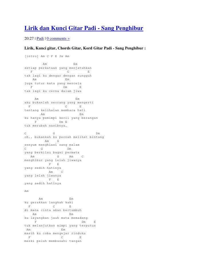 Lirik dan kunci gitar padi