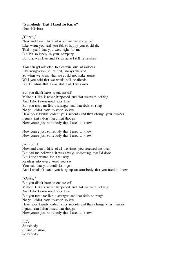 Lirik Lagu Somebody That I Used To Know