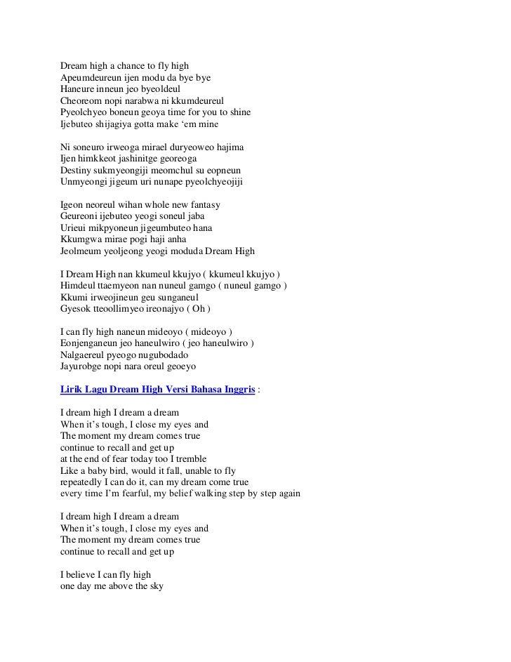 Lirik lagu dream high versi bahasa korea