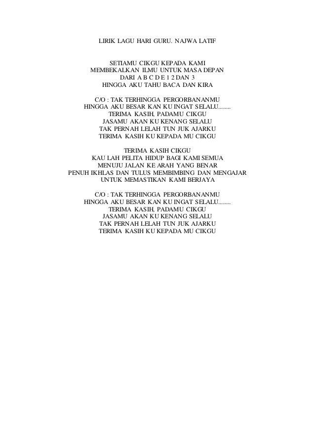 Lirik lagu hari guru