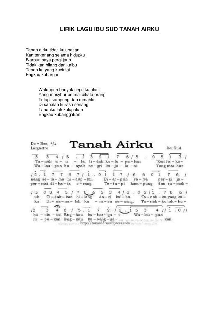 Lirik lagu ibu sud tanah airku