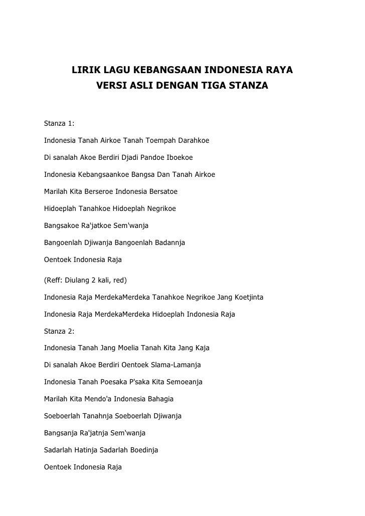 Lirik Lagu Kebangsaan Indonesia Raya