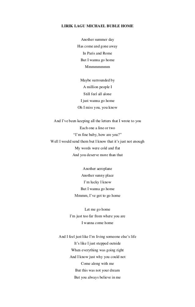 home michael buble lyrics pdf