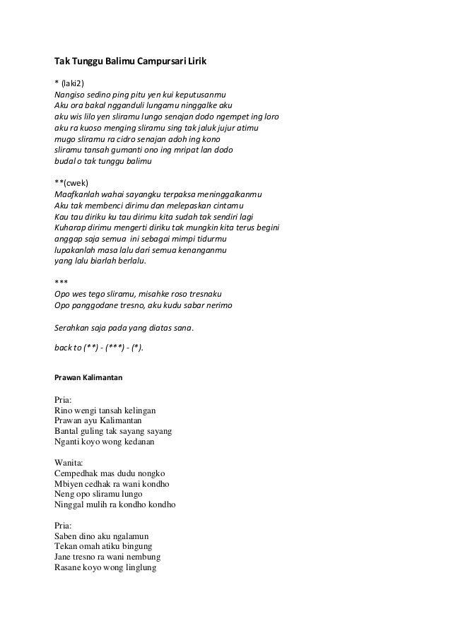 Lirik Lagu Campursari Terbaru