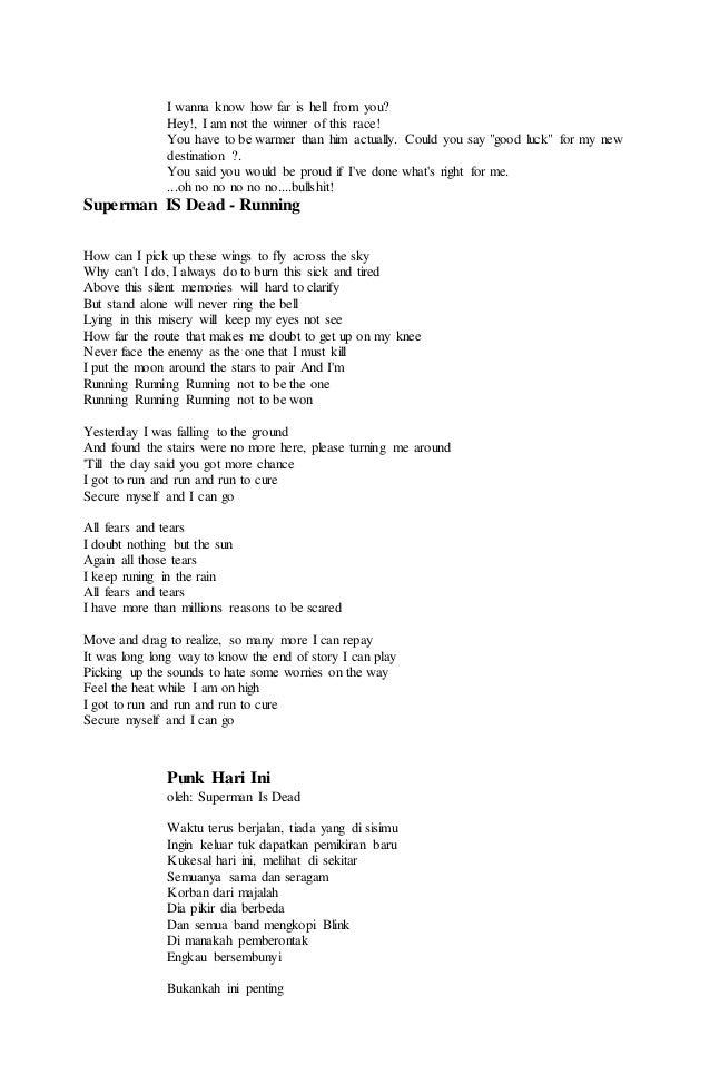 Lirik lagu superman is dead