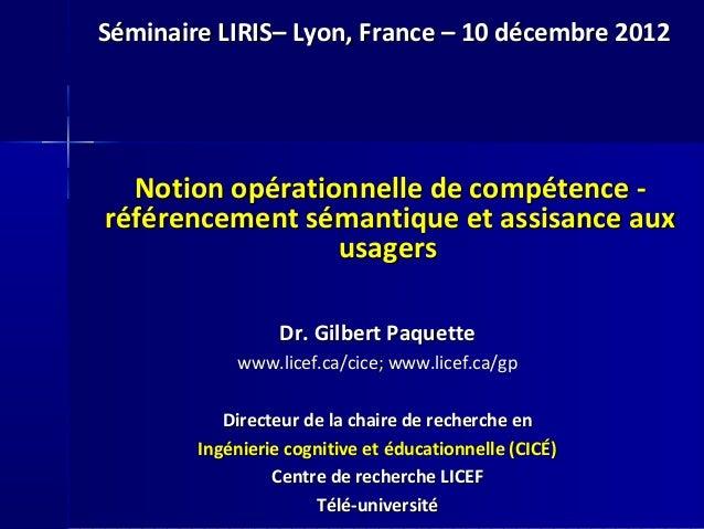 Notion opérationnelle de compétence -Notion opérationnelle de compétence - référencement sémantique et assisance auxréfére...
