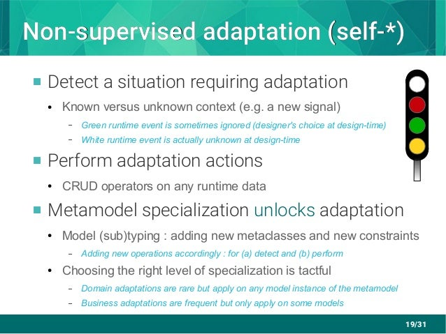 19/31 Non-supervised adaptation (self-*)Non-supervised adaptation (self-*)  Detect a situation requiring adaptation ● Kno...