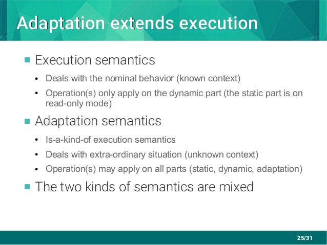25/31 Adaptation extends executionAdaptation extends execution  Execution semantics ● Deals with the nominal behavior (kn...