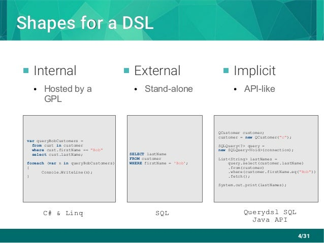 4/31 Shapes for a DSLShapes for a DSL  Internal ● Hosted by a GPL  External ● Stand-alone  Implicit ● API-like C# & Lin...