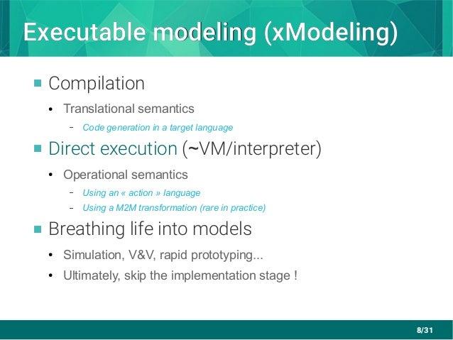 8/31 Executable modeling (xModeling)Executable modeling (xModeling)  Compilation ● Translational semantics – Code generat...