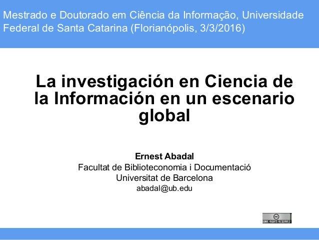 Tècniques instrumentals (Grau d'Antropologia) – Curs 2015-16Mestrado e Doutorado em Ciência da Informação, Universidade Fe...