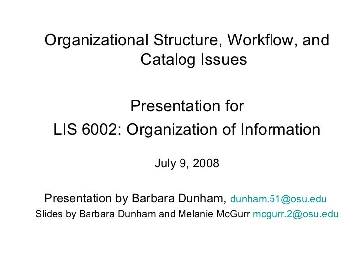 <ul><li>Organizational Structure, Workflow, and Catalog Issues </li></ul><ul><li>Presentation for </li></ul><ul><li>LIS 60...