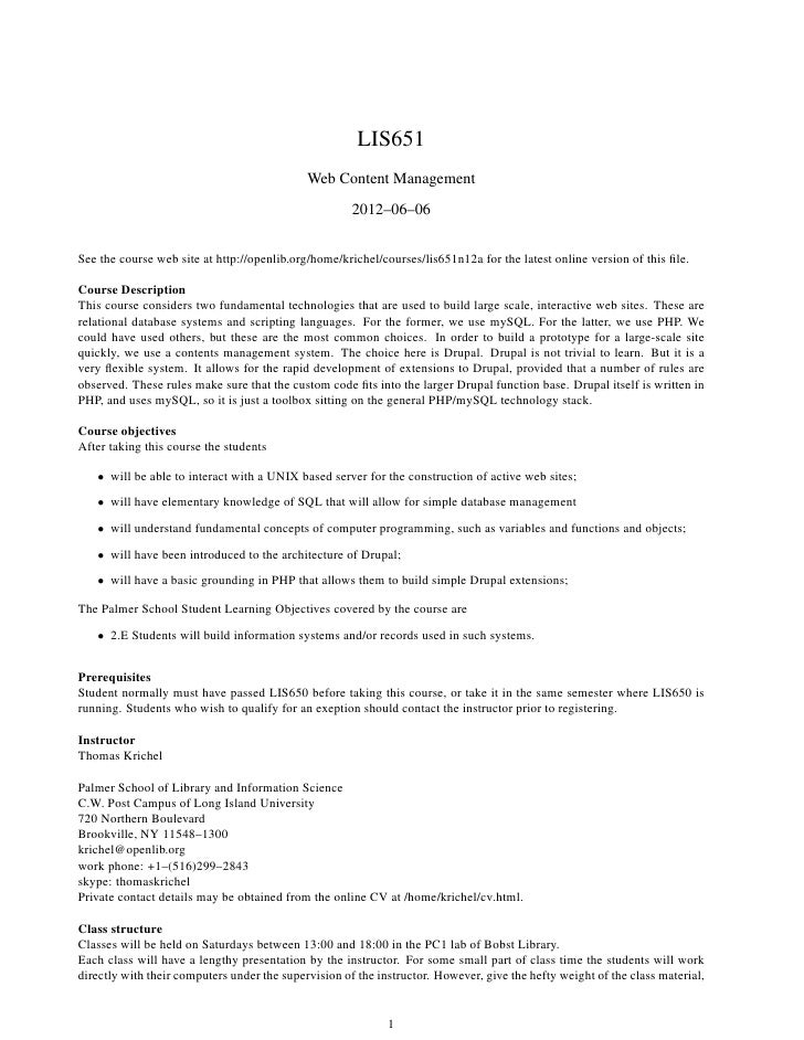 LIS651                                             Web Content Management                                                 ...