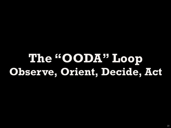 OODA: Observe, Orient, Decide, Act             http://en.wikipedia.org/wiki/OODA_loop                                     ...