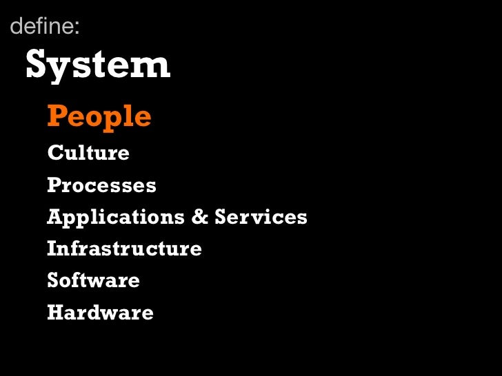 define: System   People   Culture   Processes   Applications & Services   Infrastructure   Software   Hardware