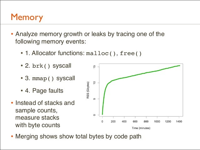 Memory • Analyze memory growth or leaks by tracing one of the following memory events:  • 1. Allocator functions: malloc()...