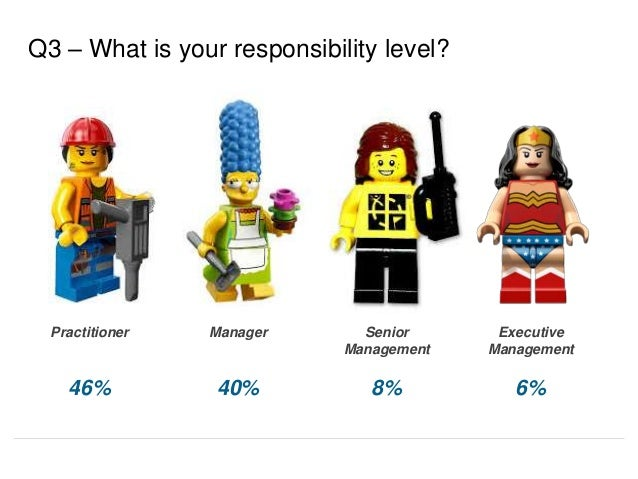 Senior Management 8% Executive Management 6% Practitioner 46% Manager 40% Q3 – What is your responsibility level?