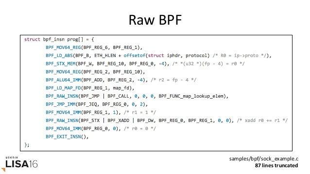 bcc • BPFCompilerCollecGon – hrps://github.com/iovisor/bcc – Leaddeveloper:BrendenBlanco (PlumGRID) • Inclu...