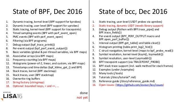 InstallaGon hrps://github.com/iovisor/bcc/blob/master/INSTALL.md • eg,UbuntuXenial: – putstoolsin/usr/share/bcc...