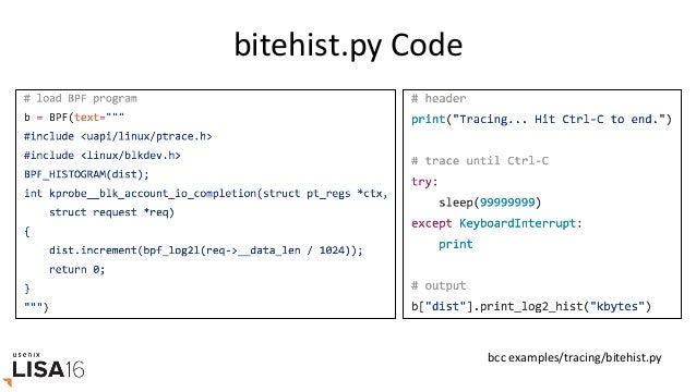 "bytehist.pyAnnotated bccexamples/tracing/bitehist.py CBPFProgram PythonProgramMap StaGsGcs ""kprobe__""isashor..."