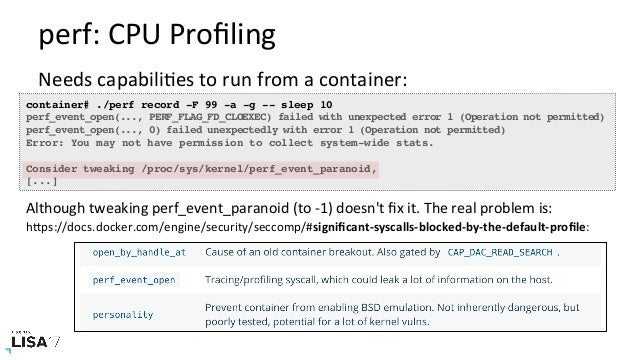 LISA17 Container Performance Analysis