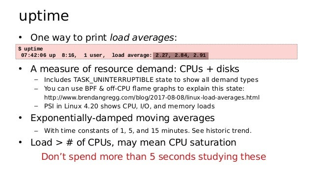 top • System and per-process interval summary: • %CPU is summed across all CPUs • Can miss short-lived processes (atop won...