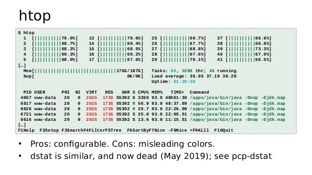 vmstat • Virtual memory statistics and more: • USAGE: vmstat [interval [count]] • First output line has some summary since...