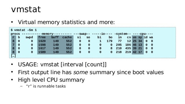 iostat • Block I/O (disk) stats. 1st output is since boot. $ iostat -xz 1 Linux 5.0.21 (c099.xxxx) 06/24/19 _x86_64_ (32 C...