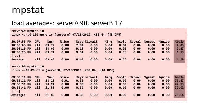 mpstat serverA# mpstat 10 Linux 4.4.0-130-generic (serverA) 07/18/2019 _x86_64_ (48 CPU) 10:07:55 PM CPU %usr %nice %sys %...