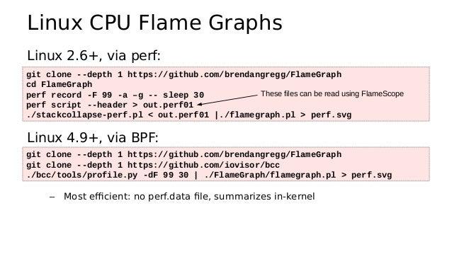 FlameScope ● Analyze variance, perturbations https://github.com/ Netflix/flamescope Subsecond-offset heat map Flame graph