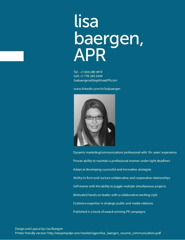 Lisa Baergen Resume Booklet Communications