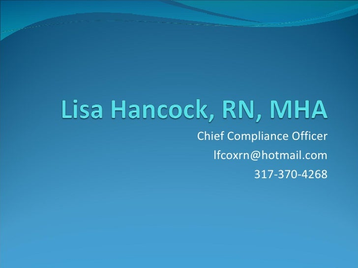 Chief Compliance Officer [email_address] 317-370-4268