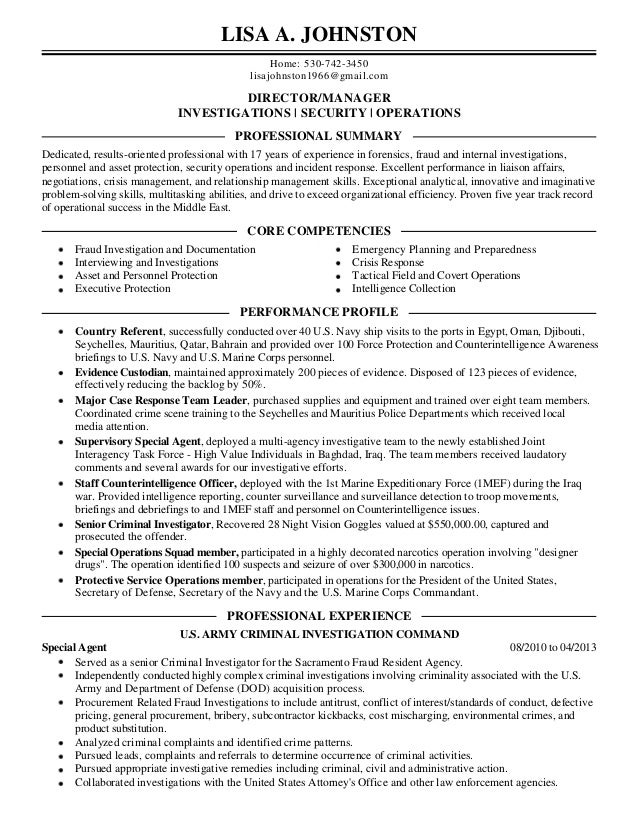 Awesome Criminal Investigator Resume Objectives Images Examples