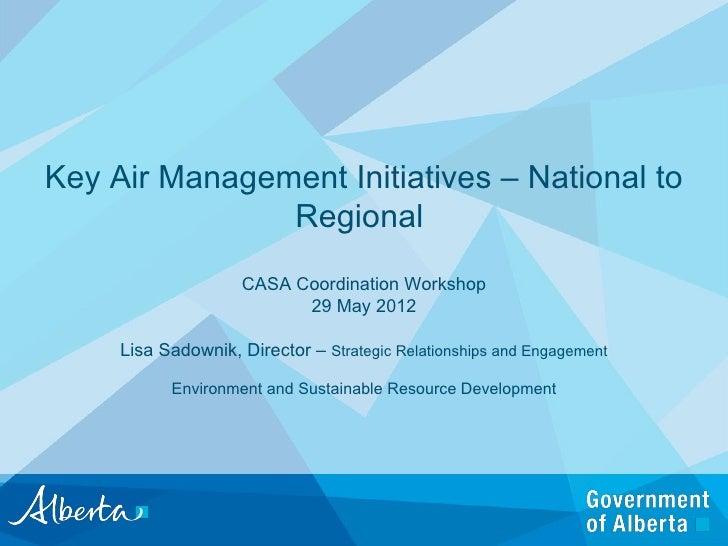 Key Air Management Initiatives – National to               Regional                    CASA Coordination Workshop         ...