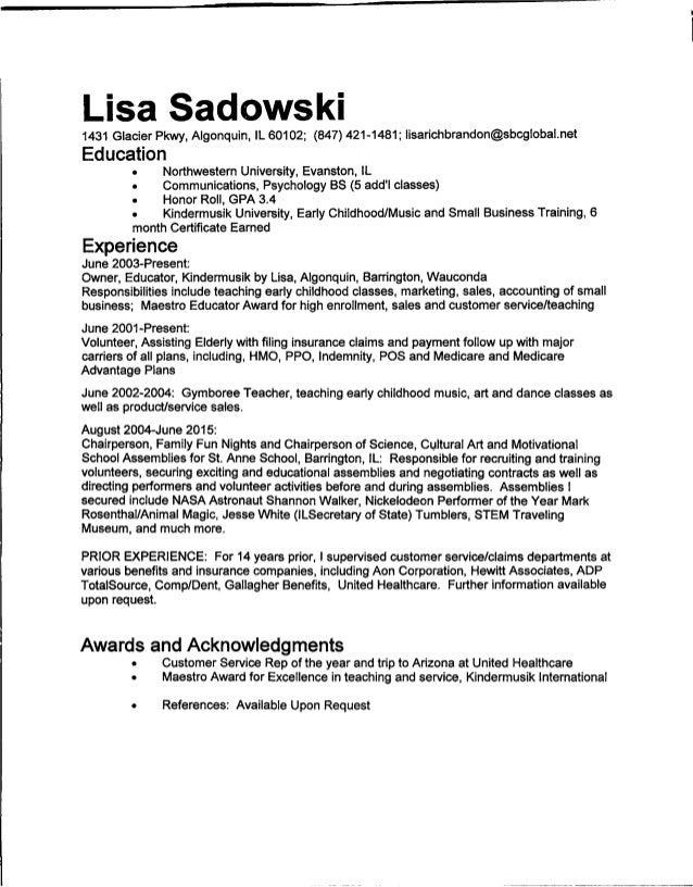 lisa sadowski resume