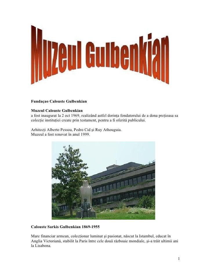 Lisboa, Muzeul  Calouste Gulbenkian