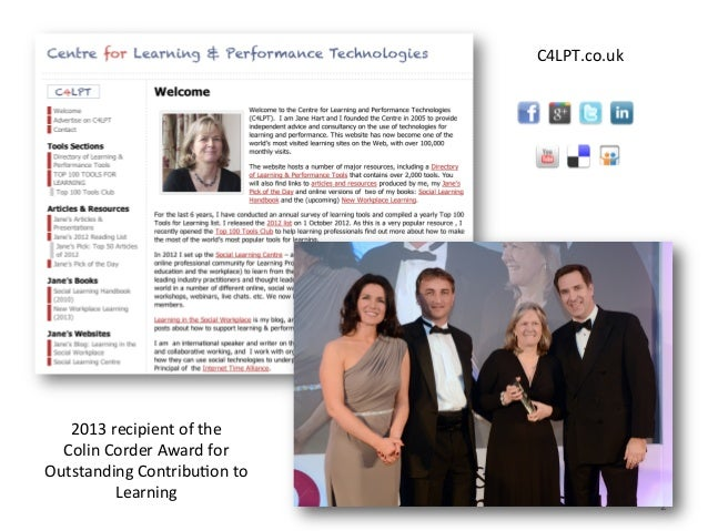 C4LPT.co.uk	    2	    2013	   recipient	   of	   the	   	    Colin	   Corder	   Award	   for	    Outstanding	   ContribuAo...