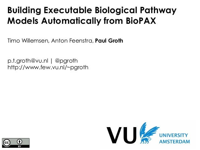 Building Executable Biological Pathway Models Automatically from BioPAX Timo Willemsen, Anton Feenstra, Paul Groth p.t.gro...