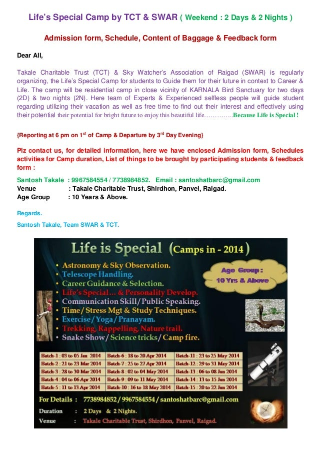 Life's Special Camp by TCT & SWAR ( Weekend : 2 Days & 2 Nights ) Admission form, Schedule, Content of Baggage & Feedback ...