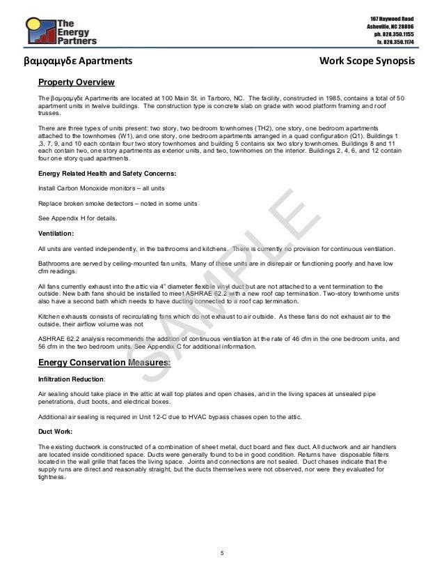Multifamily Energy Audit Sample Report