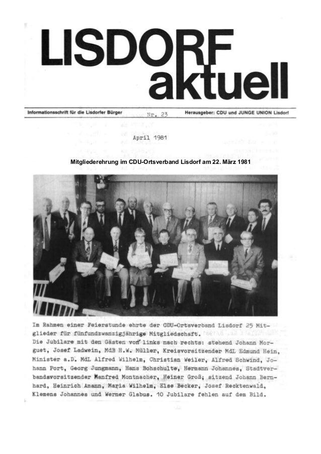 Mitgliederehrung im CDU-Ortsverband Lisdorf am 22. M�rz 1981