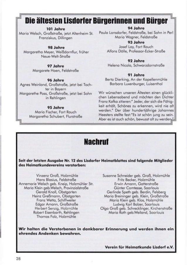 llie ältesten lisriloilu Büruefinnen und Büruer 101 Johra Morio Welsch, Großslroße, jeizt Altenheim St. Fronziskus, Dillin...