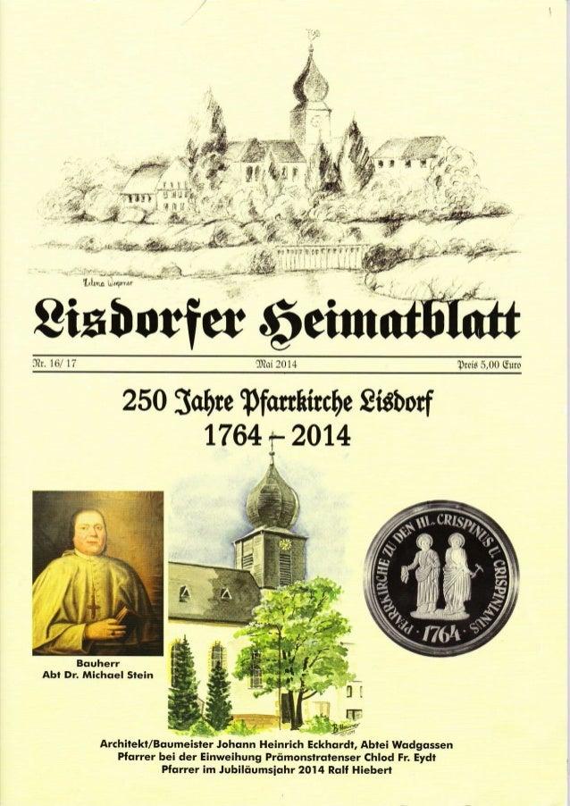 : --f 8ixüorfer 6eiut]b.16/ 17 lDtoi2014 Trei§ 5,00 GürD 250 SaFe pfonhircDe Sidborf 1764 y 2014 Bouherl Abt Dr. Michoel S...