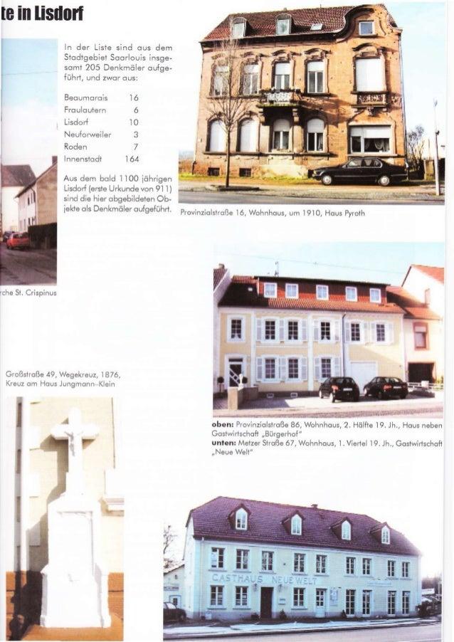 lc in lisdoil Großshoße 49, I I ln der Liste sind ous dem Slodtgebiet Soorlouis insge- somt 205 Denkmöler oufge- führi, un...