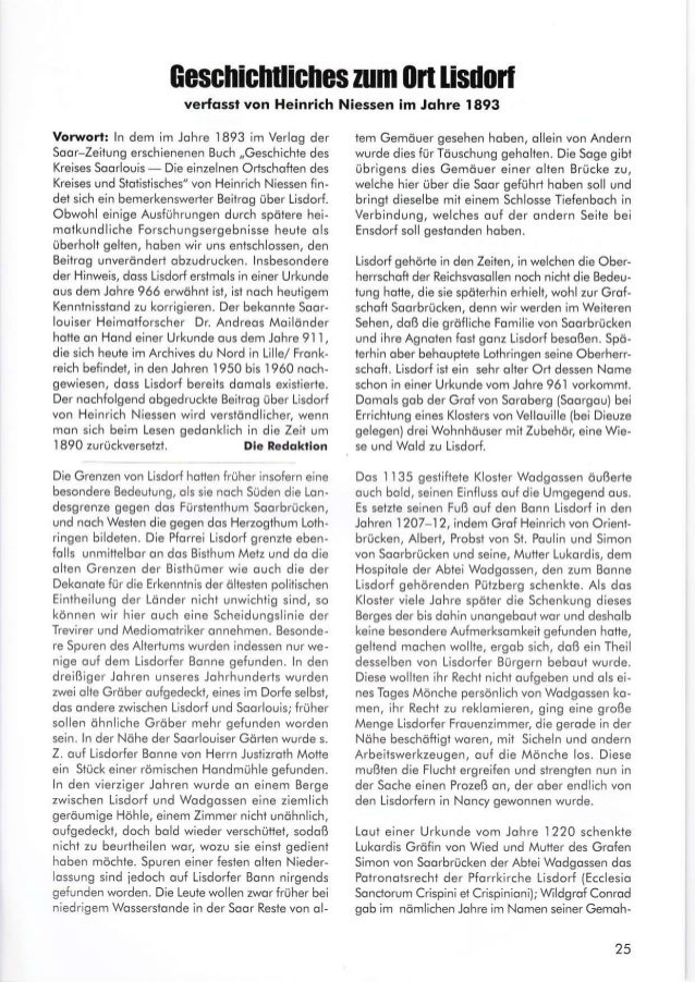 Geschiclrtliches zum (lrt lisdorl verfqssl von Heinrich Niessen im Jqhre 1893 Vorworl: ln dem im Johre 1893 im Verlog der ...