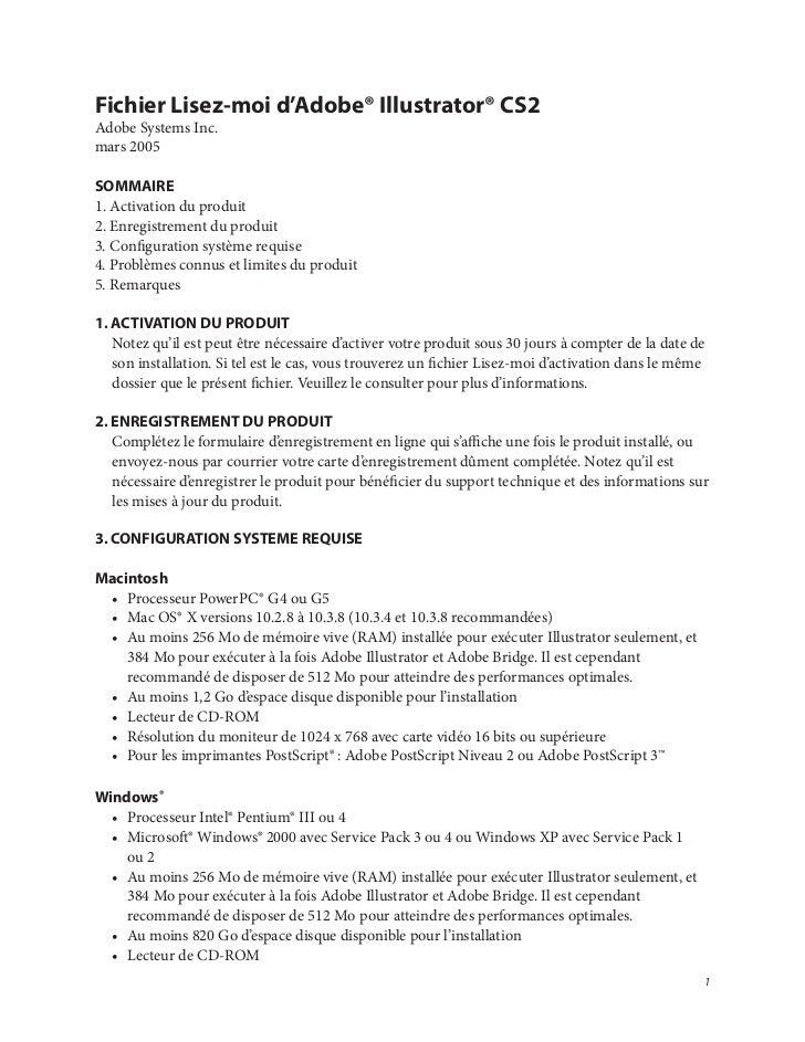 Fichier Lisez-moi d'Adobe® Illustrator® CS2Adobe Systems Inc.mars 2005SOMMAIRE1. Activation du produit2. Enregistrement du...