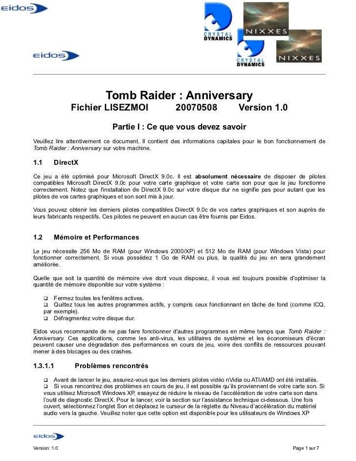 Tomb Raider : Anniversary                Fichier LISEZMOI                          20070508                 Version 1.0   ...