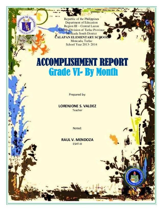 school accomplishment report per month