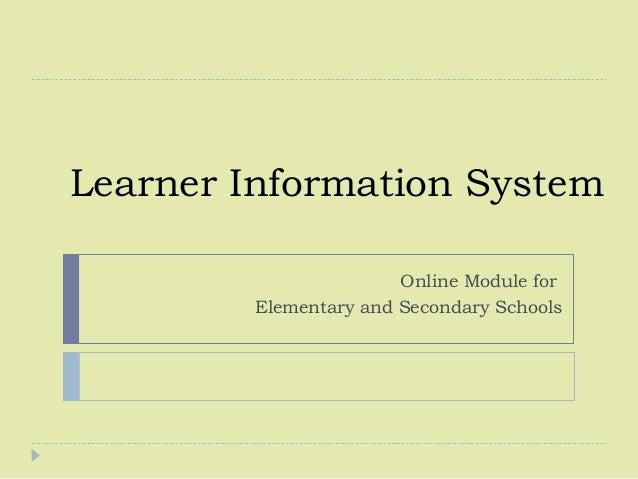 Learner information system ppt video online download.