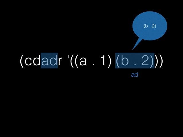 (cdadr '((a . 1) (b . 2))) ;=>2 ad d ドット対だと ネスト数は-1 (b . 2)